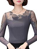Χαμηλού Κόστους Ολόσωμο-Γυναικεία Μεγάλα Μεγέθη Μπλούζα Εξόδου Patchwork Lace Trim Μαύρο / Άνοιξη / Φθινόπωρο