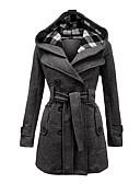 Χαμηλού Κόστους Sweater Dresses-Γυναικεία Καθημερινά Βίντατζ Χειμώνας Μεγάλα Μεγέθη Μακρύ Παλτό, Καρό Με Κουκούλα Μακρυμάνικο Μαύρο / Κόκκινο / Μπλε
