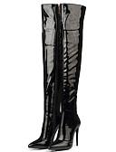 povoljno Zentai odijela-Žene Čizme Seksi čizme Stiletto potpetica Krakova Toe Patent-zatvarač Lakirana koža Čizme preko koljena Klasik Zima Crn / Crvena / Zabava i večer