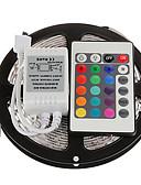 billige Samsung-tilbehør-zdm 5m 300 x 2835 8mm rgb ledelister lett fleksible og ir 24 nøkkel fjernkontroll koblbar selvklebende fargeskiftende