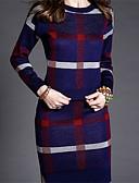 baratos Vestidos Suéter-Mulheres Festa Sofisticado Algodão Delgado Tricô Vestido - Fenda Estampado Acima do Joelho