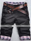 ราคาถูก กางเกงผู้ชาย-สำหรับผู้ชาย พื้นฐาน ทุกวัน เพรียวบาง ตรง / กางเกงขาสั้น กางเกง - ลายสก็อต สีดำ สีเทา สีกากี L XL XXL