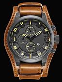 ราคาถูก นาฬิกาข้อมือสายหนัง-สำหรับผู้ชาย นาฬิกาแนวสปอร์ต นาฬิกาแฟชั่น นาฬิกาตกแต่งข้อมือ นาฬิกาอิเล็กทรอนิกส์ (Quartz) นาฬิกาควอตซ์ญี่ปุ่น หนังแท้ ดำ / น้ำตาล 30 m กันน้ำ ปฏิทิน เท่ห์ ระบบอนาล็อก / # / # / สองปี / สองปี