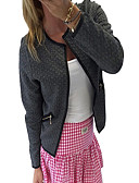 Χαμηλού Κόστους Γυναικεία σπορ σακάκια και μπουφάν-Γυναικεία Καθημερινά Άνοιξη / Χειμώνας Κοντό Σακάκι, Μονόχρωμο Λαιμόκοψη V Μακρυμάνικο Βαμβάκι Λευκό / Μαύρο / Γκρίζο