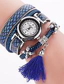 ราคาถูก นาฬิกาข้อมือ-สำหรับผู้หญิง นาฬิกาสร้อยข้อมือ นาฬิกาอิเล็กทรอนิกส์ (Quartz) PU Leather ดำ / สีขาว / แดง ระบบอนาล็อก สุภาพสตรี เสน่ห์ โบฮีเมียน กำไล แฟชั่น - แดง ฟ้า สีฟ้า หนึ่งปี อายุการใช้งานแบตเตอรี่