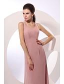 Χαμηλού Κόστους Βραδινά Φορέματα-Ίσια Γραμμή Με Κόσμημα Μακρύ Σιφόν Αμάνικο Πολυμορφικά φορέματα Φόρεμα Μητέρας της Νύφης με Ζώνη / Κορδέλα 2020