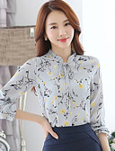 baratos Camisas Femininas-Mulheres Camisa Social Moda de Rua Estampado, Floral Colarinho Chinês Preto