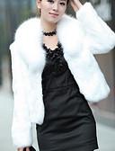 olcso Női szőrme és műszőrme kabátok-Női Hétköznapi / Szabadság Divatos és modern Tél Rövid Szőrmekabát, Egyszínű Sálhajtóka Hosszú ujj Műszőrme Modern stílus Fehér / Fekete