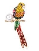 billiga Exotiska herrunderkläder-Dam Broscher Blomma Parrot damer Lyx Pärla Brosch Smycken Regnbåge Till Party Dagligen Casual
