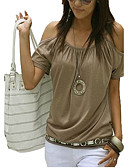 baratos Camisetas Femininas-Mulheres Tamanhos Grandes Camiseta Moda de Rua Com Corte, Sólido Algodão Com Alças / Ombro a Ombro Branco / Verão