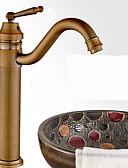 billige Brudepikekjoler-Baderom Sink Tappekran - Roterbar Antikk Bronse Bolleservant Et Hull / Enkelt Håndtak Et HullBath Taps