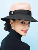 ราคาถูก หมวกสตรี-สำหรับผู้หญิง ลายบล็อคสี ขนสัตว์ วินเทจ ไม่เป็นทางการ-หมวกบัคเก็ต ฤดูใบไม้ผลิ ตก ฤดูหนาว สีดำ อูฐ