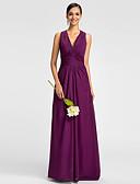 Χαμηλού Κόστους Φορέματα Παρανύμφων-Γραμμή Α Λαιμόκοψη V Μακρύ Σιφόν Φόρεμα Παρανύμφων με Πλαϊνό ντραπέ / Πιασίματα