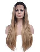 Χαμηλού Κόστους Πέπλα Γάμου-Συνθετικές μπροστινές περούκες δαντέλας Ίσιο Kardashian Στυλ Δαντέλα Μπροστά Περούκα Μαύρο Μαύρο / Φράουλα Ξανθιά Συνθετικά μαλλιά Γυναικεία / Φυσική γραμμή των μαλλιών / Μαλλιά με ανταύγειες