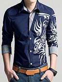 billige Herreskjorter-Tynn Klassisk krage Store størrelser Skjorte Herre - Geometrisk / Tribal, Trykt mønster Vintage Rød / Langermet / Vår / Høst