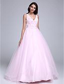 Χαμηλού Κόστους Φορέματα Χορού Αποφοίτησης-Βραδινή τουαλέτα Λαιμόκοψη V Μακρύ Τούλι Χρώματα Pastel Επίσημο Βραδινό Φόρεμα 2020 με Χάντρες / Λουλούδι