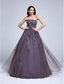 Χαμηλού Κόστους Βραδινά Φορέματα-Βραδινή τουαλέτα Στράπλες Μακρύ Τούλι Επίσημο Βραδινό / Quinceanera Φόρεμα 2020 με Χάντρες / Διακοσμητικά Επιράμματα / Λουλούδι