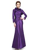 olcso Örömanya ruhák-Sellő fazon Magasnyakú Bokáig érő Taft Örömanya ruha val vel Virág / Rakott által LAN TING BRIDE®