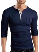 ราคาถูก กางเกงผู้ชาย-สำหรับผู้ชาย เสื้อเชิร์ต Sport คอวี เพรียวบาง สีพื้น สีน้ำเงินกรมท่า / แขนยาว