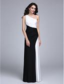 billiga Aftonklänningar-Åtsmitande Enaxlad Golvlång Jersey Färgblock Formell kväll Klänning 2020 med Sidodraperad