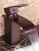 billige Dameklær-Baderom Sink Tappekran - Foss Olje-gnidd Bronse Centersat Enkelt Håndtak Et HullBath Taps