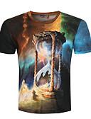 Χαμηλού Κόστους Ανδρικά μπλουζάκια και φανελάκια-Ανδρικά T-shirt Αθλητικά 3D / Κινούμενα σχέδια Στρογγυλή Λαιμόκοψη Θαλασσί / Κοντομάνικο / Καλοκαίρι