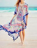 billiga Strandklänningar-Dam Bohem Blom Tofs Regnbåge Snörbindning Täck Över Badkläder - Multifärgad Reaktiv Tryck Tryck En Storlek Regnbåge