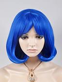 billige Brudepikekjoler-Syntetiske parykker Løse bølger Stil Parykk Kort Blå Syntetisk hår Dame Blå Parykk
