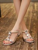ราคาถูก ชุดเดรสลูกไม้สุดโรแมนติก-สำหรับผู้หญิง รองเท้าแตะ Crystal Sandals ส้นต่ำ เปิดนิ้ว หัวเข็มขัด แวววาว / วัสดุที่กำหนดเอง ความแปลก / รองเท้าคลับ ฤดูใบไม้ผลิ / ฤดูร้อน สีทอง / เงิน / EU40
