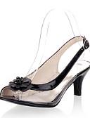 ราคาถูก หมวกสตรี-สำหรับผู้หญิง รองเท้าแตะ ส้นลูกแมว ที่สวมนิ้วเท้า หัวเข็มขัด / ดอกไม้ วัสดุที่กำหนดเอง / หนังเทียม ฤดูร้อน สีทอง / สีดำ / สีเงิน / พรรคและเย็น / พรรคและเย็น