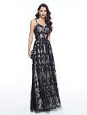 Χαμηλού Κόστους Φορέματα Χορού Αποφοίτησης-Ίσια Γραμμή Λεπτές Τιράντες Μακρύ Τούλι Εμπνευσμένα από τα Όσκαρ / See Through / Στυλ Διασήμων Κοκτέιλ Πάρτι / Χοροεσπερίδα / Επίσημο Βραδινό Φόρεμα 2020 με Χάντρες / Δαντέλα / Πλισέ
