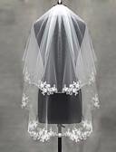ราคาถูก ม่านสำหรับงานแต่งงาน-Two-tier งานผ้าขอบลายลูกไม้ / Pearl Trim Edge ผ้าคลุมหน้าชุดแต่งงาน Blusher Veils / Elbow Veils / ผ้าคลุมศรีษะสำหรับชุดแต่งงาน กับ เข็มกลัด Tulle / คลาสสิก