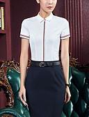 Χαμηλού Κόστους Επαγγελματικά Φορέματα-Γυναικεία Μεγάλα Μεγέθη Πουκάμισο Εξόδου Βαμβάκι Μονόχρωμο Όρθιος Γιακάς Λευκό / Άνοιξη / Καλοκαίρι