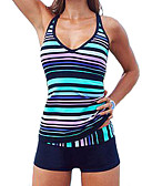 ราคาถูก ชุดว่ายน้ำ Tankini-สำหรับผู้หญิง ขนาดพิเศษ Sporty คล้องไหล่ สีน้ำเงิน Boy Leg tankini ชุดว่ายน้ำ - ลายแถบ ลายพิมพ์ XL XXL XXXL สีน้ำเงิน