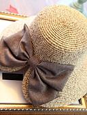 ราคาถูก หมวกสตรี-สำหรับผู้หญิง สีพื้น Straw วันหยุด-หมวกสาน ดวงอาทิตย์หมวก ฤดูร้อน ผ้าขนสัตว์สีธรรมชาติ สีน้ำเงินกรมท่า สีกากี