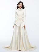 זול שמלות נשף-גזרת A צווארון גבוה שובל קורט סאטן ערב רישמי שמלה עם פפיון(ים) / קפלים על ידי TS Couture®