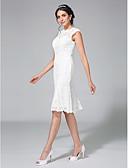 billiga Brudklänningar-Åtsmitande Bateau Neck Knälång Spets Regelbundna band Liten vit klänning Bröllopsklänningar tillverkade med Spets 2020