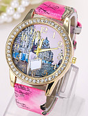 ราคาถูก นาฬิกาสำหรับผู้ชาย-สำหรับผู้หญิง นาฬิกาแฟชั่น นาฬิกาอิเล็กทรอนิกส์ (Quartz) หนัง ฟ้า / แดง / สีชมพู ระบบอนาล็อก แดง ฟ้า สีชมพู