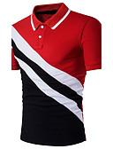 זול חולצות פולו לגברים-קולור בלוק צווארון חולצה רזה פעיל / מתוחכם כותנה, Polo - בגדי ריקוד גברים טלאים שחור / שרוולים קצרים / קיץ