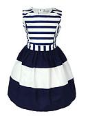 povoljno Haljine za djevojčice-Dijete koje je tek prohodalo Djevojčice slatko Dnevno Praznik Blue & White Prugasti uzorak Bez rukávů Haljina Navy Plava / Pamuk