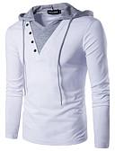 billige Poloskjorter til herrer-Bomull Tynn Med hette T-skjorte Herre - Ensfarget, Lapper Aktiv / Gatemote Hvit / Langermet