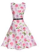 ราคาถูก เดรสเด็กผู้หญิง-เด็ก เด็กผู้หญิง ลวดลายดอกไม้ ทุกวัน ฮอลิเดย์ ไปเที่ยว ลายพิมพ์ เสื้อไม่มีแขน กระโปรงชุด ขาว
