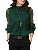 ราคาถูก เสื้อเอวลอยสำหรับผู้หญิง-สำหรับผู้หญิง เชิร์ต พื้นฐาน ทำงาน คอแสตนด์ แขนโคมไฟ, สีพื้น ขาว