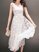 Χαμηλού Κόστους Φορέματα Χορού Αποφοίτησης-Γυναικεία Εξόδου Καθημερινό Βαμβάκι Δαντέλα Φόρεμα - Μονόχρωμο, Δαντέλα Ως το Γόνατο