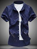 billige Herreskjorter-Bomull Tynn Klassisk krage Skjorte Herre - Stripet, Trykt mønster Fritid Hvit / Kortermet / Sommer