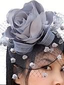 ราคาถูก หมวกสตรี-สุทธิ / ซาติน fascinators / ดอกไม้ / วิถี Birdcage กับ 1 งานแต่งงาน / โอกาสพิเศษ / ที่มา หูฟัง