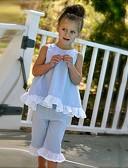 ราคาถูก เสื้อเชิ้ตสำหรับสุภาพสตรี-Toddler เด็กผู้หญิง จุด โบว์ ทุกวัน ไปเที่ยว ชายหาด สีพื้น ลายจุด เสื้อไม่มีแขน ปกติ ปกติ ฝ้าย ชุดเสื้อผ้า สีแดงชมพู