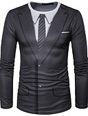 billige T-skjorter og singleter til herrer-Rund hals T-skjorte Herre - 3D, Trykt mønster Gatemote Sport Svart / Langermet