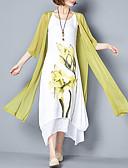 Χαμηλού Κόστους Print Dresses-Γυναικεία Μεγάλα Μεγέθη Κινεζικό στυλ Βαμβάκι Φαρδιά Ντε Πιες Φόρεμα - Φλοράλ, Στάμπα Μακρύ