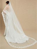 ราคาถูก ม่านสำหรับงานแต่งงาน-ชั้นเดียว งานผ้าขอบลายลูกไม้ ผ้าคลุมหน้าชุดแต่งงาน ผ้าคลุมหน้าในโบสถ์ กับ ลายปัก 181.1 นิ้ว (460ซม.) ลูกไม้ / Tulle / Mantilla